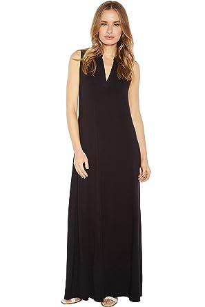 f7f47729a3edb9 Rohb by Joyce Azria Pacific Sleeveless Long Maxi Mandarin V-Neck Collared  Dress (Black