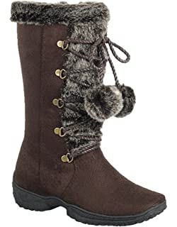 Women's Faux Suede Flat Heel Pom-Pom Mid Calf Fur Lining Lace Up Snow Boot