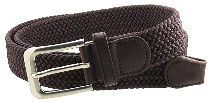 Mens Braided Elastic Stretch Belt Leather Tipped End And Silver