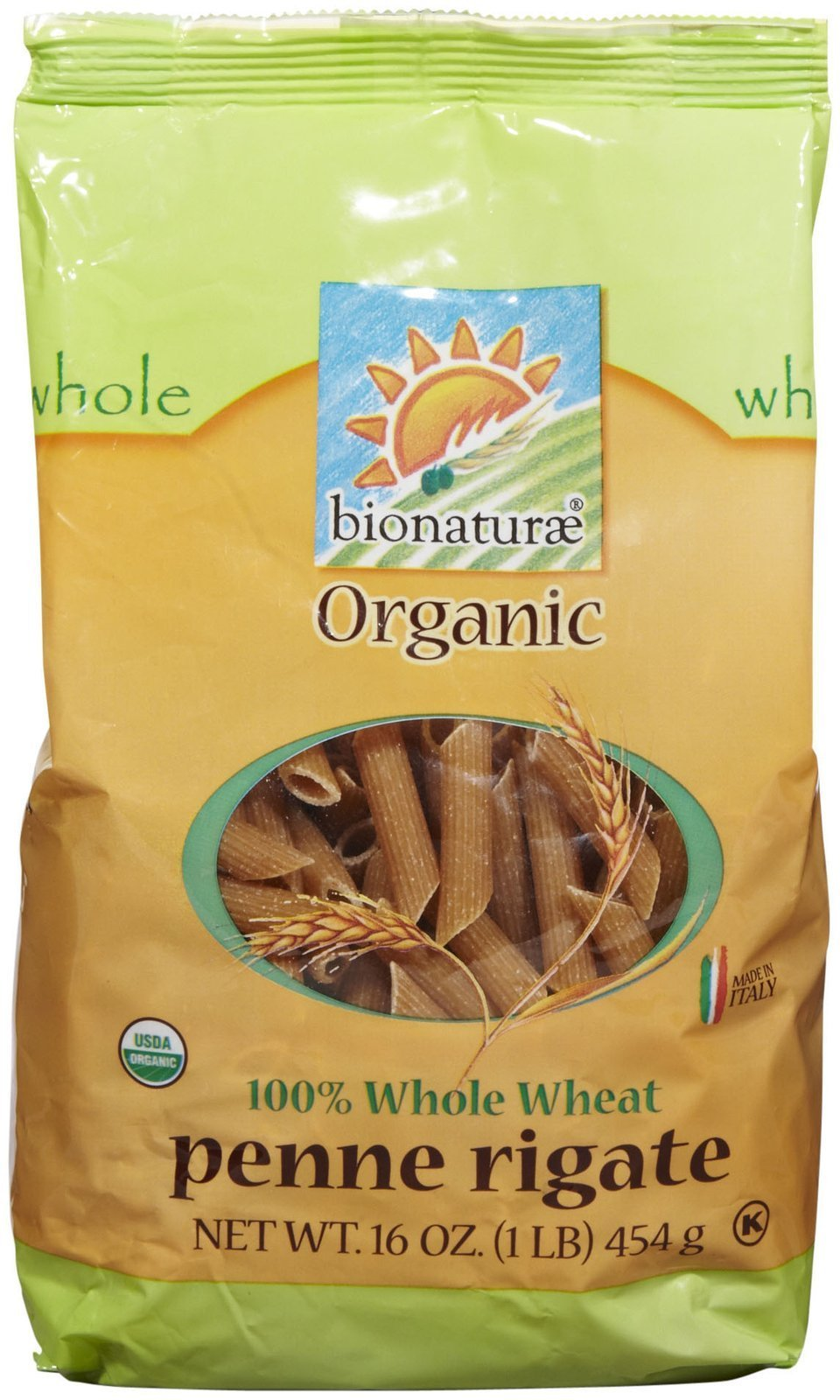 Bionaturae Organic Pasta, Whole Wheat Penne Rigate-16 oz