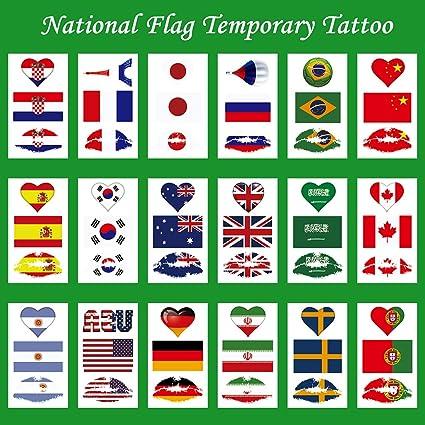 CARGEN® 18 Hojas Bandera Nacional Tatuajes Temporales Para El Juego De Pelota Bandera Nacional Etiqueta Para El Partido De FúTbol Bandera Tatuajes En El Brazo Cara Para NiñOs Adultos Fiesta Festival: Amazon.es: