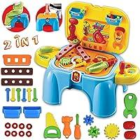 deAO Giochi d'Imitazione per Bambini Sgabello & Scatola Portatile 2in1 Playset con Accessori Inclusi (Attrezzi)