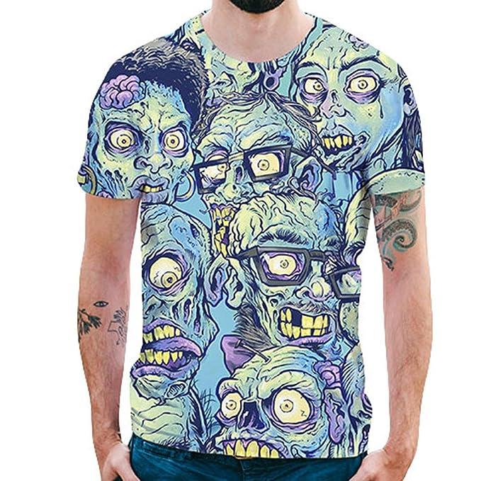 Personalidad Hombres 3D Imprimir Terro Skull Casual Slim Manga Corta Top por Internet