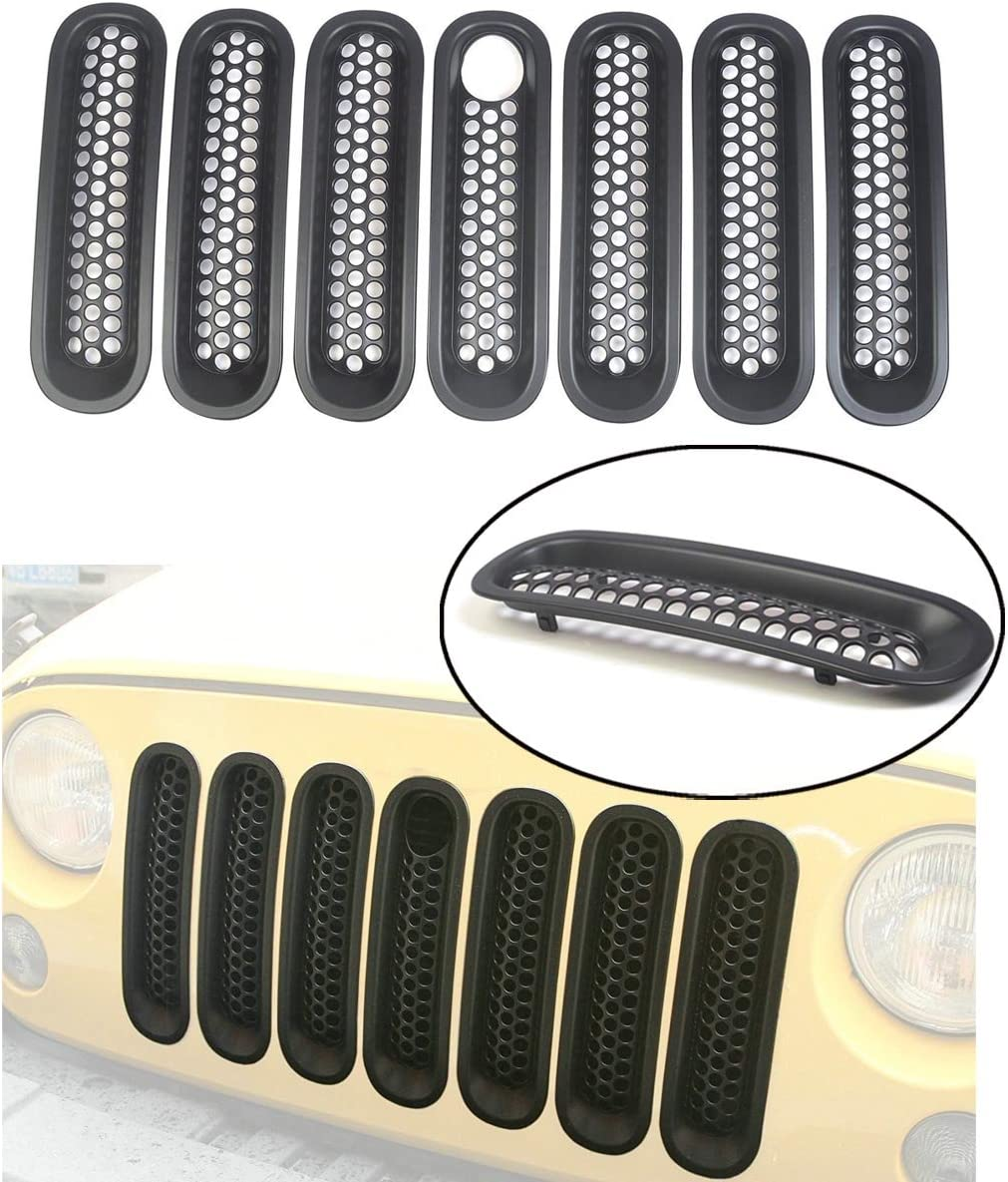 Bestong [Upgrade Clip in Version] 7 Pcs Front Mesh Grille Front Grill Inserts Kit Compatible for Jeep Wrangler Rubicon Sahara JK 2007-2017 (Black, with key hole)