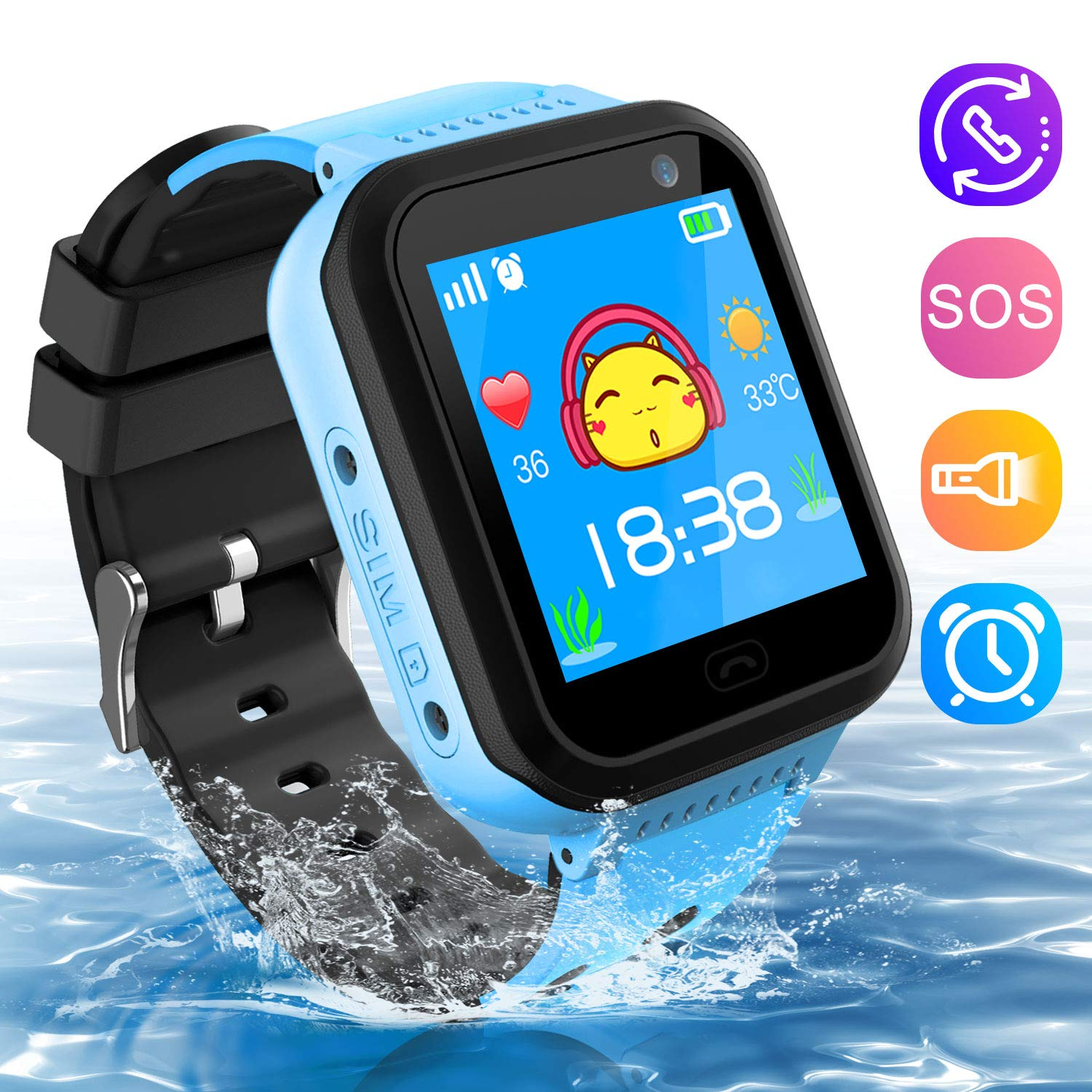 Kids Smartwatch Phone, Waterproof Kids Tracker Watch Camera Call Phone Smart Watch for Kids 3-14 Best Gift for Girls Boys (Blue)