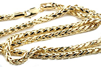 48feb46675e4d Midwest Jewellery 10K Gold Wheat Chain Palm Chain Necklace Womens or Mens  Real Gold 4mm