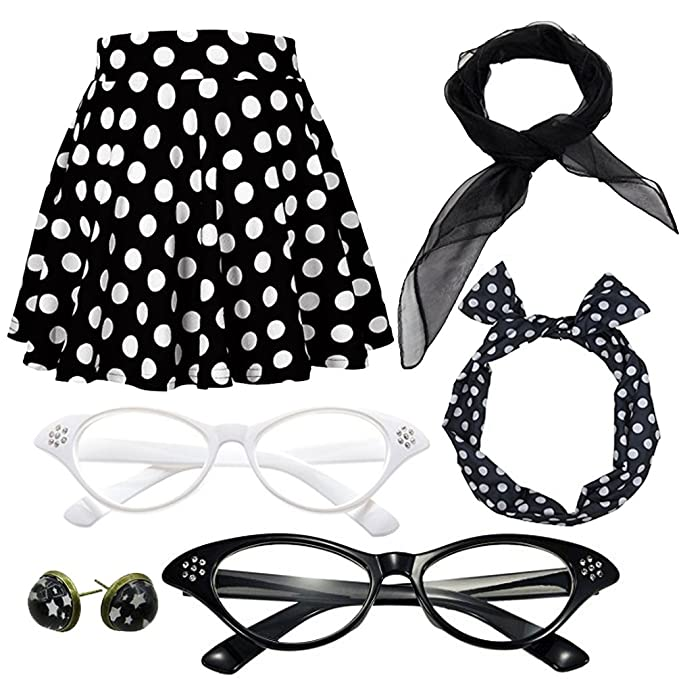 Kids 1950s Clothing & Costumes: Girls, Boys, Toddlers 50s Polka Dot Skirt Costume Set With Cat Eye Frame $19.99 AT vintagedancer.com