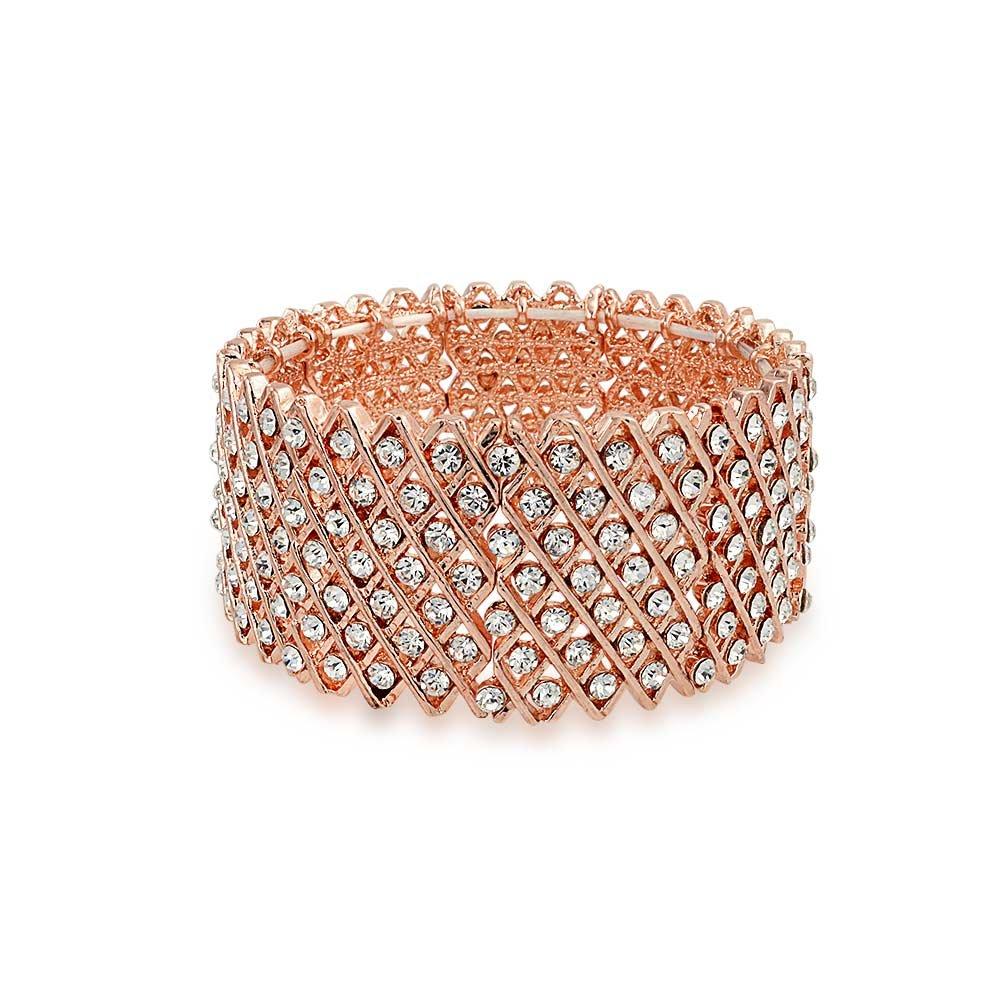Bling Jewelry Multi Row XO Rose Gold Plated Crystal Stretch Bracelet ELJ-JB1018