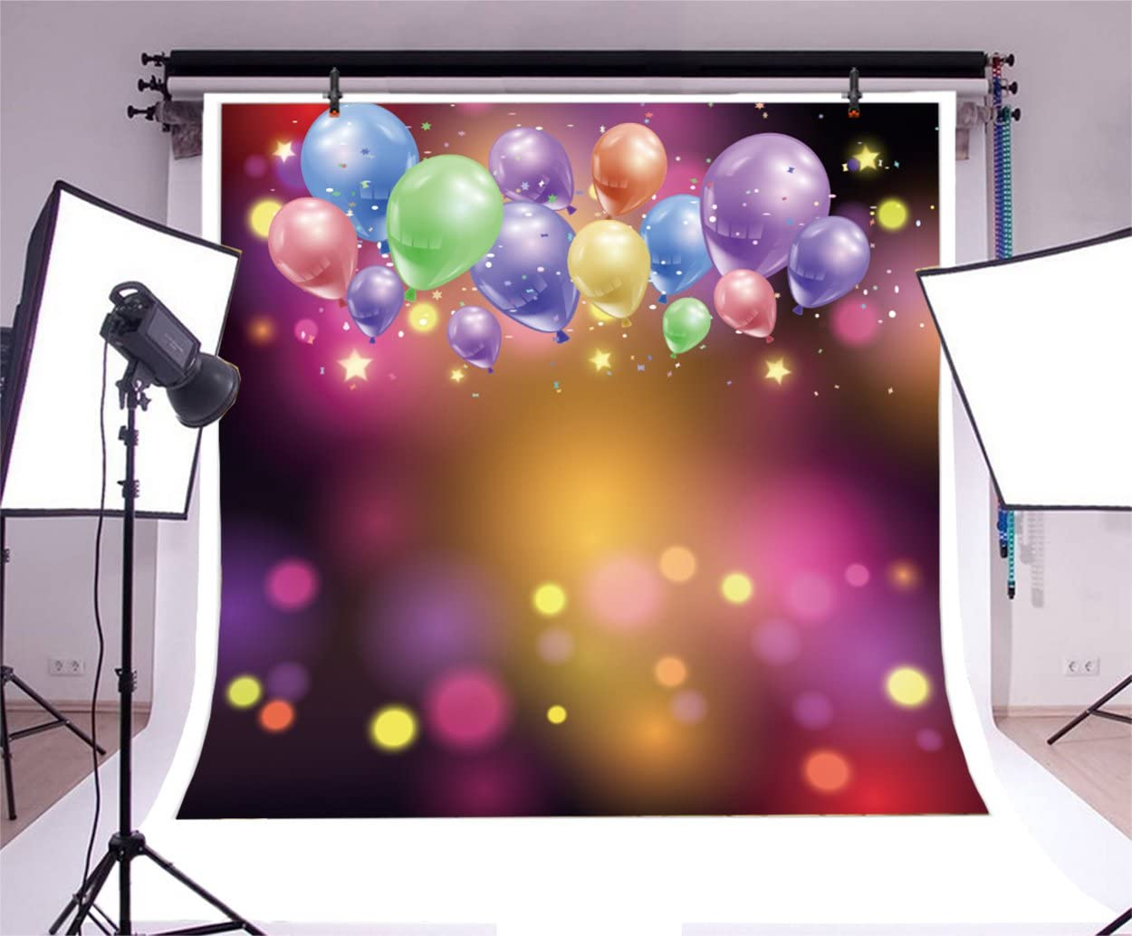TCReal Balloon Background Photography Studio Holiday Celebration Baby Birthday Party Romantic Wedding Photography Background Warm Home Decoration 6x6ft,chy319