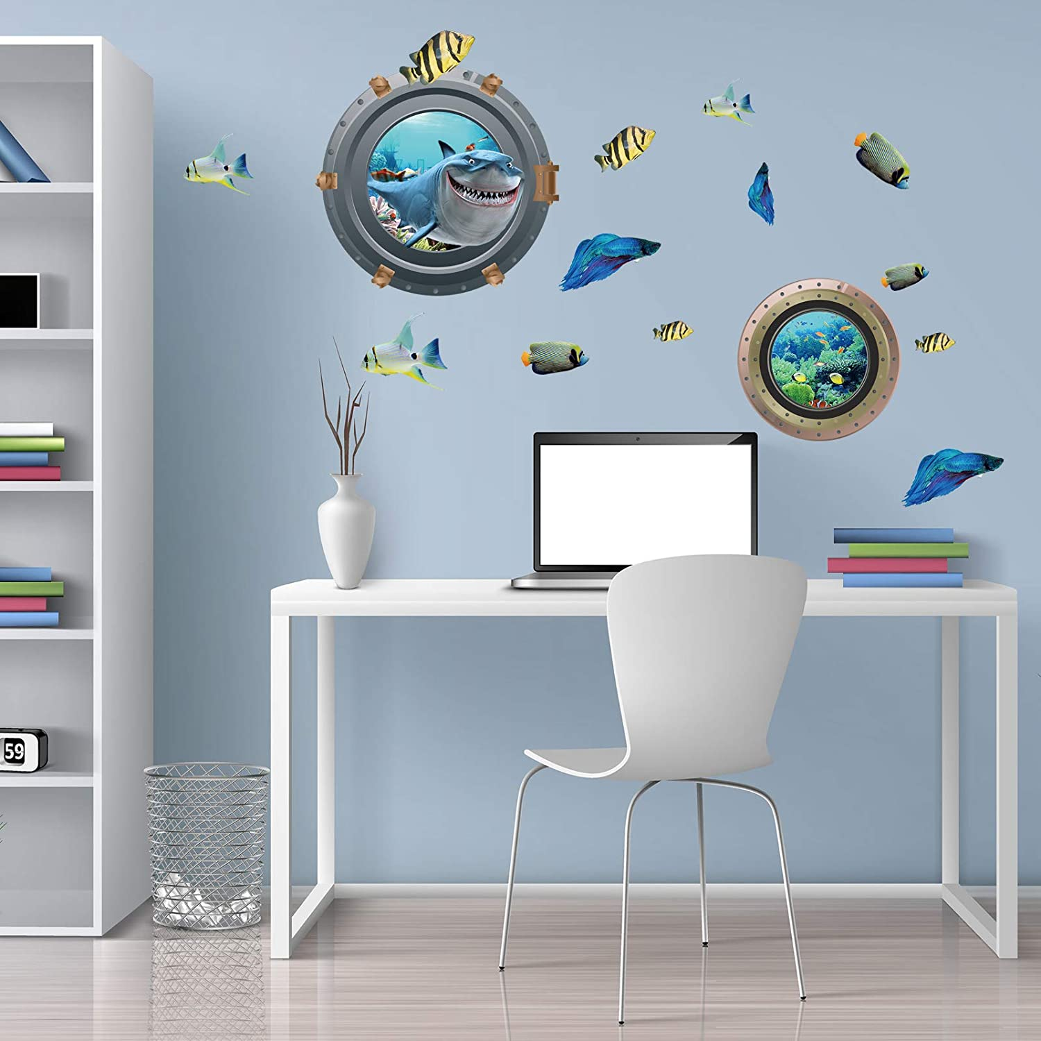 Peel and Stick Removable 11 Inches Diameter Porthole 3D Sticker Sea Life Wall Decor for Kids Nursery Bedroom Living Room Decoration 2PCS Ocean World Wall Stickers