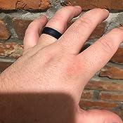 Black, Dark Grey, Olive Green, Gunmetal, 6.5-7 17.3mm ThunderFit Silicone Wedding Rings for Men 4 Rings