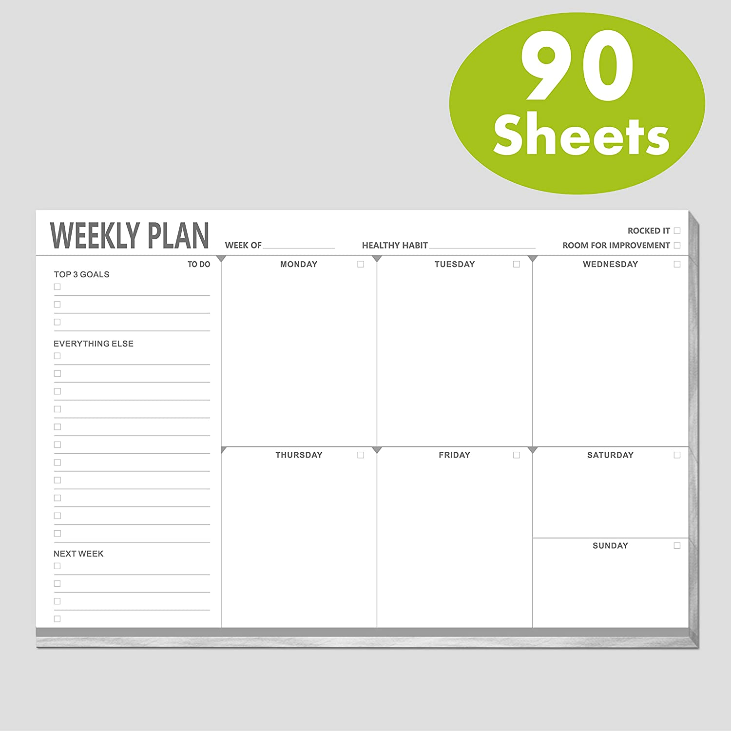 "Weekly Planner Desktop List Note Pad to Do List with Habit Tracker and Magnet Mountings for Fridge Locker (90 Sheets 9"" x 6"")"