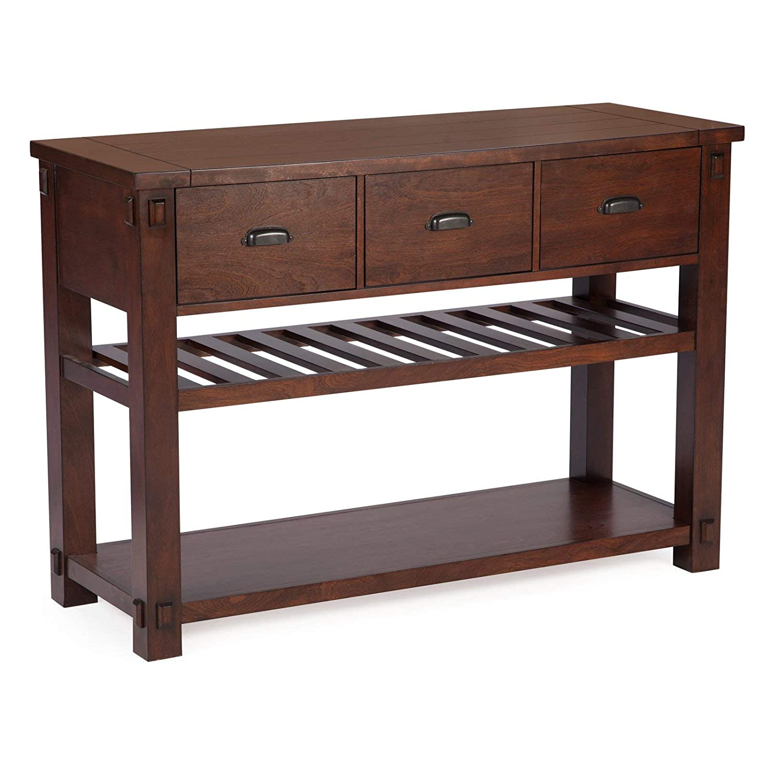 buy online 70cff dce87 Domestic Home Traditional Mission Shaker Style Dark Espresso Brown Finish  Wood Buffet Server Sideboard Console with Drawers & Wine Storage