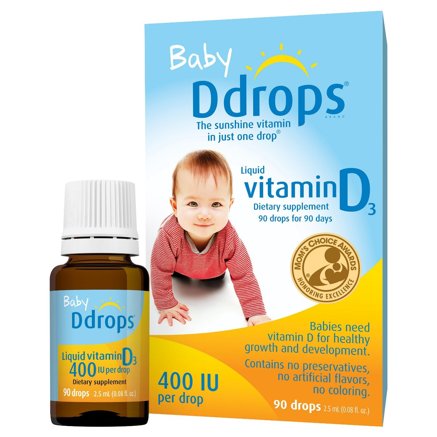 Ddrops Baby Liquid Vitamin D3 400 IU 2.50 mL (90 drops) (Pack of 10)