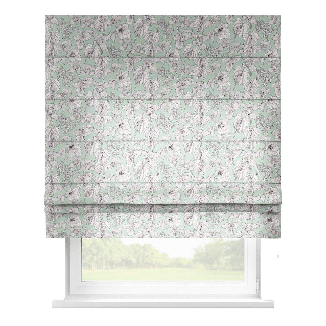 Dekoria Raffrollo Padva ohne Bohren Blickdicht Faltvorhang Raffgardine Wohnzimmer Schlafzimmer Kinderzimmer 100 × 170 cm weiß-grün Raffrollos auf Maß maßanfertigung möglich