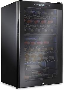 Ivation 33 Bottle Dual Zone Wine Cooler Refrigerator w/Lock   Large Freestanding Wine Cellar For Red, White, Champagne & Sparkling Wine   41f-64f Digital Temperature Control Fridge Glass Door Black
