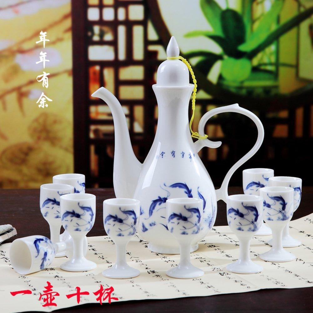 Xwuhan Keramische Weinset Chinesische Art,Antique,Glas Krug-Set-C