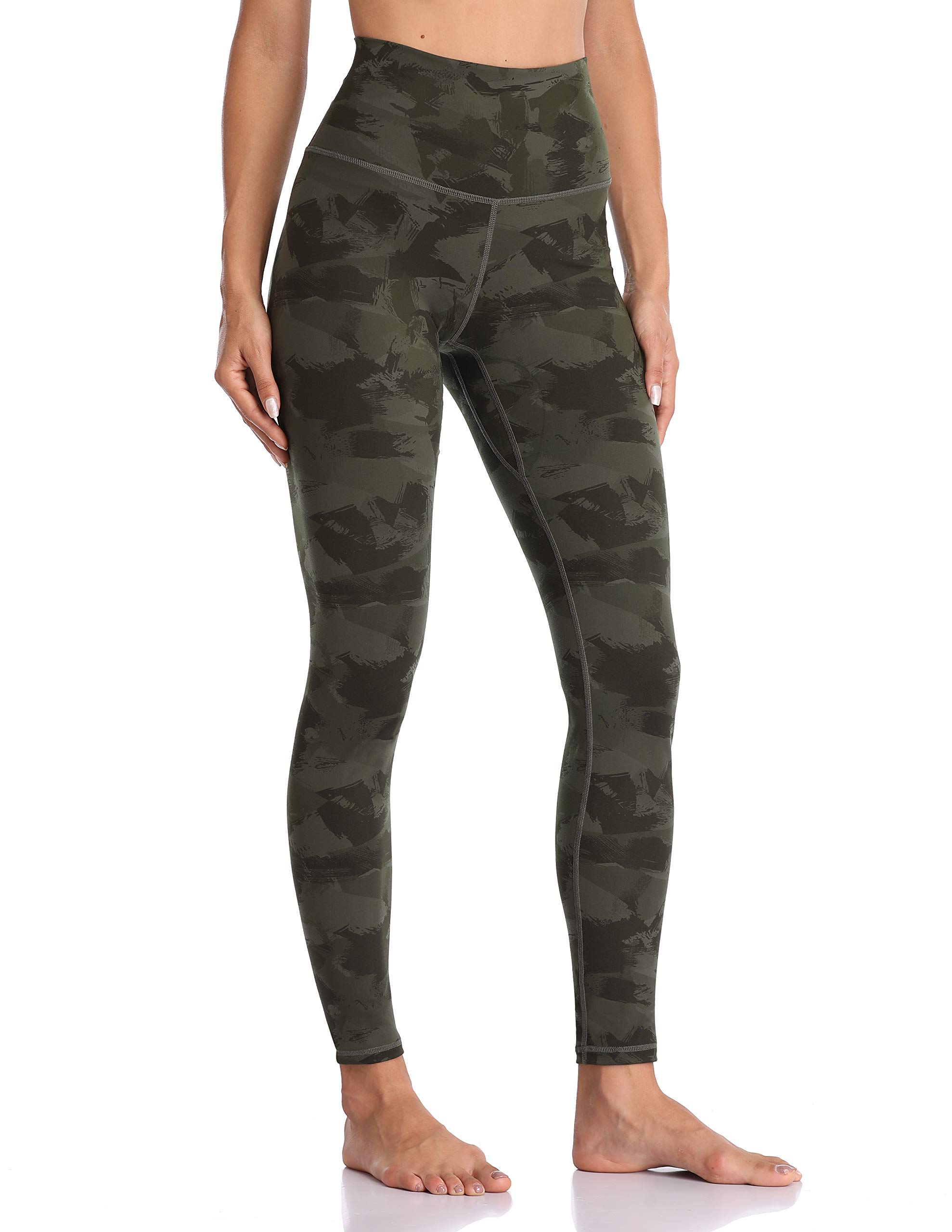 Colorfulkoala Women's High Waisted Pattern Leggings Full-Length Yoga Pants (XL, Army Green Splinter Camo) by Colorfulkoala