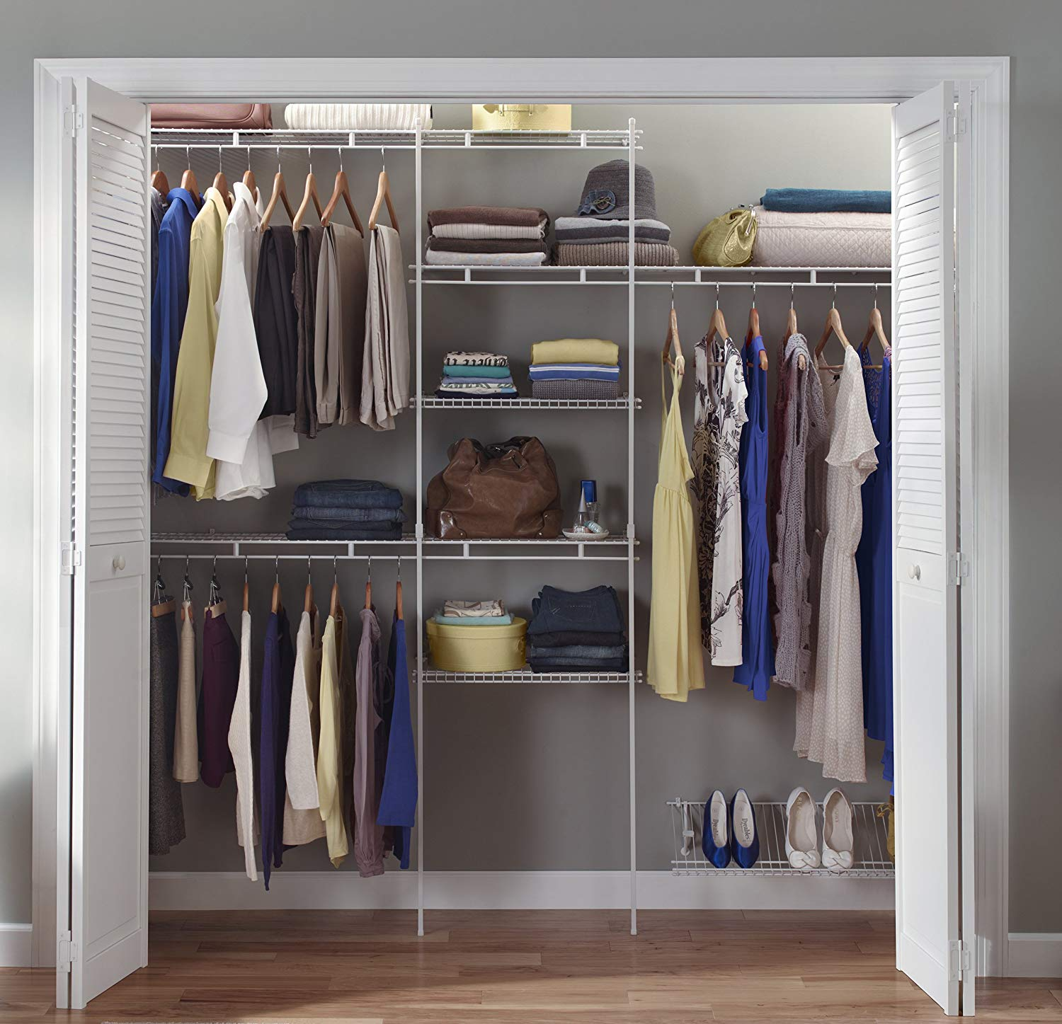 ClosetMaid 1608 Closet Organizer Kit with Shoe Shelf, 5-Foot to 8-Foot,  White