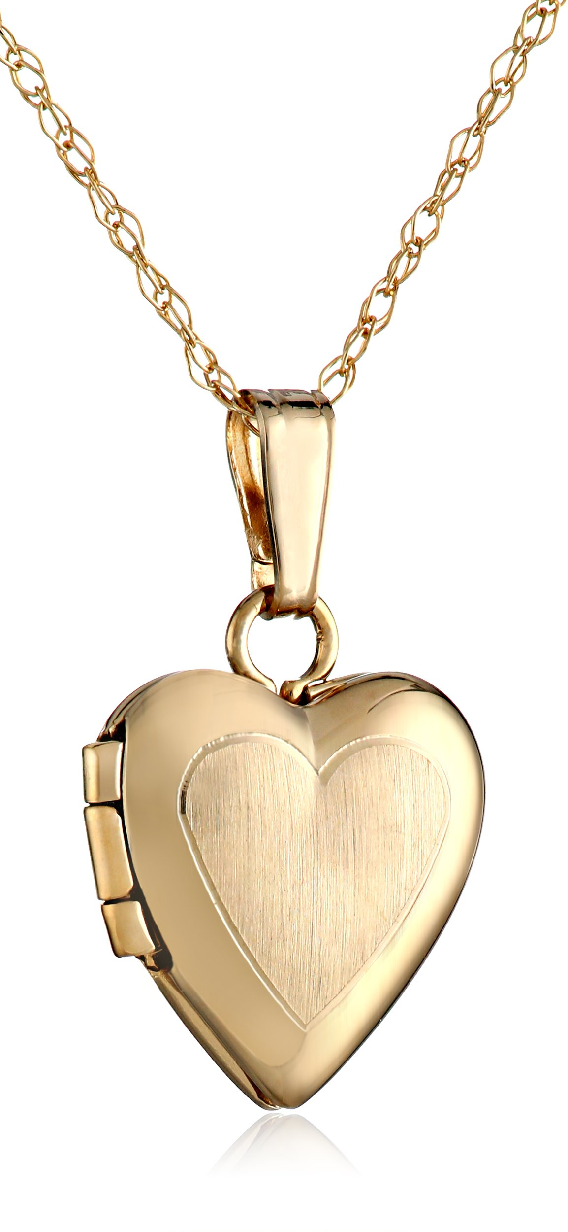 Girls' 14k Yellow Gold Heart Locket Pendant Necklace, 13''