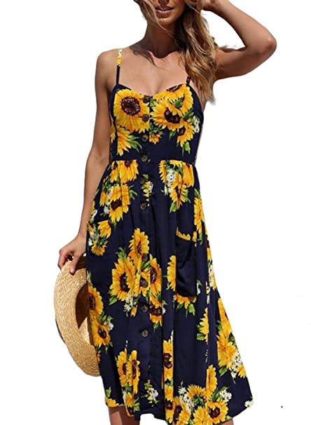 7519c2291d Image Unavailable. Image not available for. Color  STKAT Women s Summer  Spaghetti Strap Floral Printed Button Down Swing Midi Dress ...