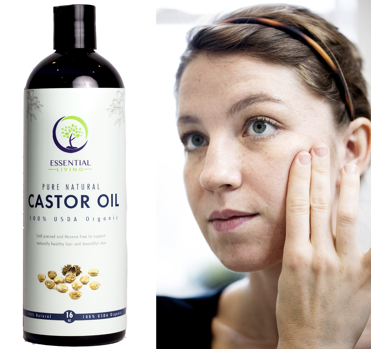 16oz - USDA Organic Castor Oil for Eyelashes, for Hair Growth, for Eyebrows, Shampoo and Skin - Cold Pressed by Essential Living