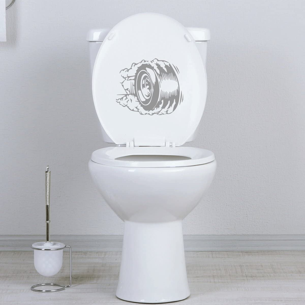 Bath Seat StickAny Bathroom Decal Series Tire Burnout Sticker for Toilet Bowl Black