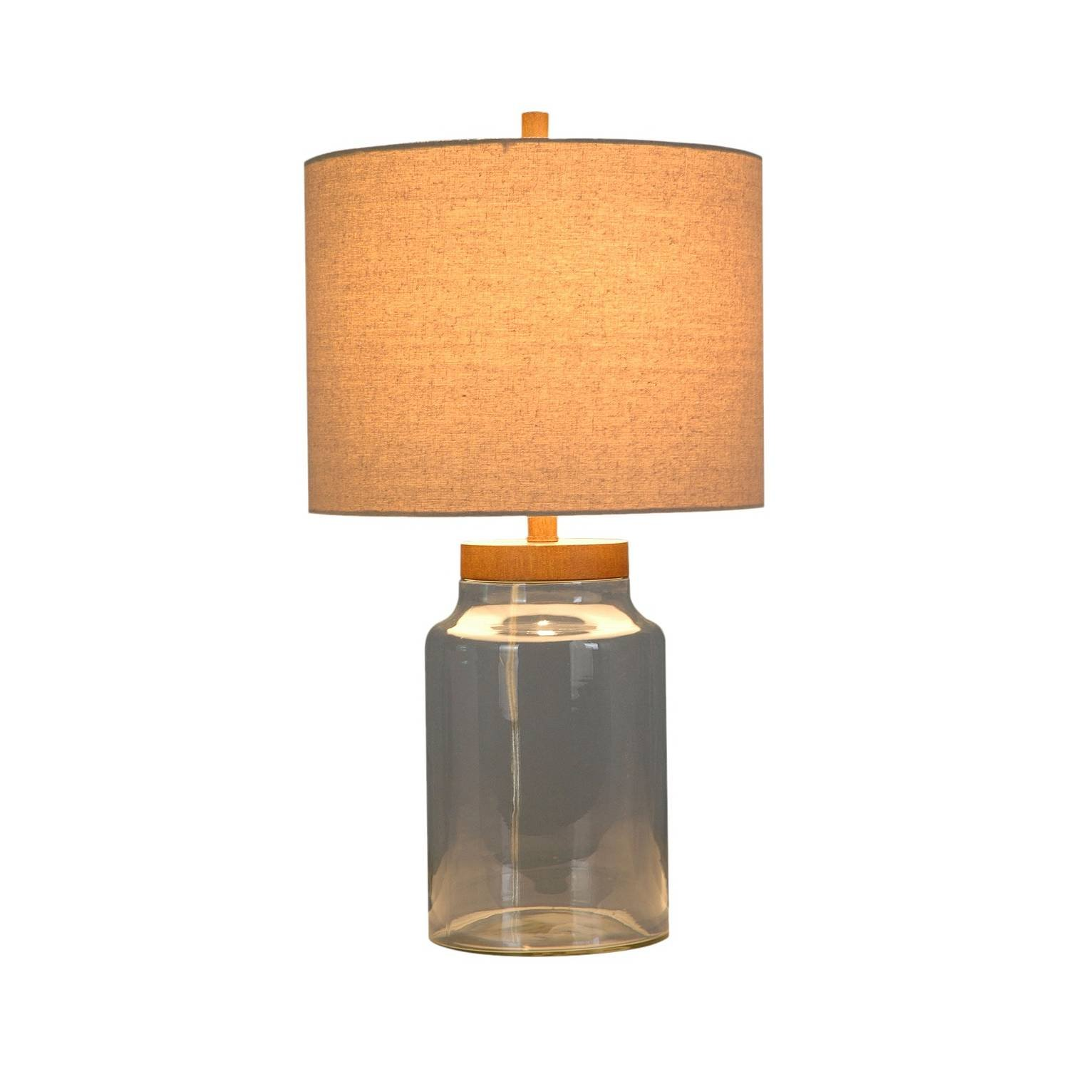 Wood & Glass Fillable 24'' x 13'' Table Lamp - Ambient Lighting Collection