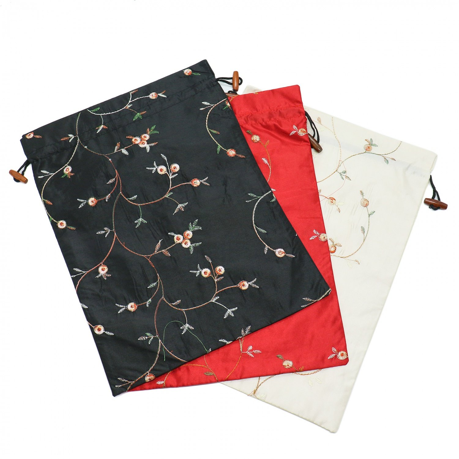 Buorsa Flower Design Embroidered Silk Jacquard Travel Bag Underwear Cloth Shoe Bags Pouch Purse , Set of 3--- 14'' x 11''(L x W) by Buorsa (Image #1)