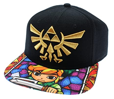 5807335b7a2 Amazon.com  Nintendo Zelda- Stained Glass Sublimated Snapback Hat ...