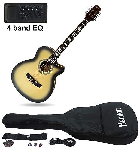Benson tamaño completo mate satinado de eléctrica electro Semi guitarra acústica Bundle (americano)