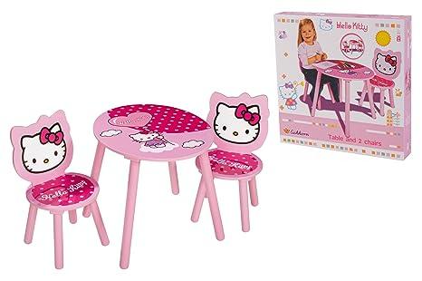 Tavolino Piu Hello Kitty.Eichhorn 100003133 Tavolo Con 2 Sedie Di Legno Hello Kitty