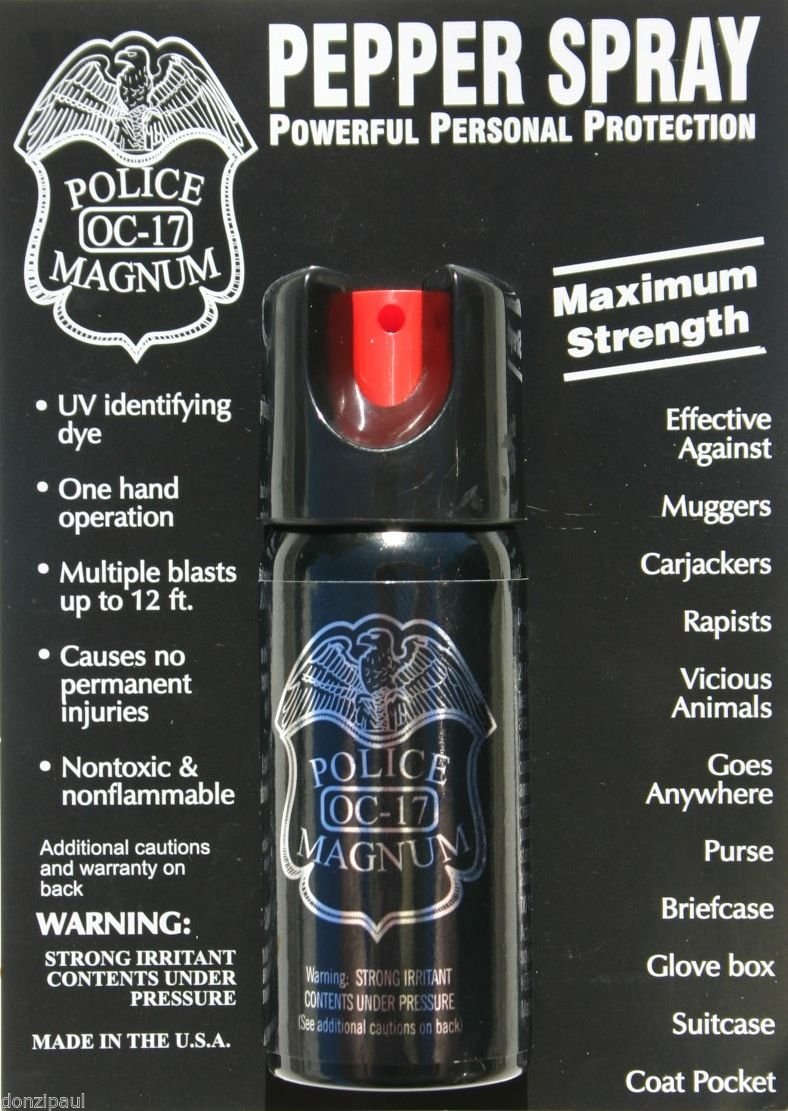 3 PACK POLICE MAGNUM OC-17 MACE PEPPER SPRAY 2 OUNCE SAFETY LOCK