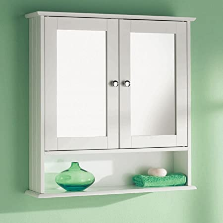 Taylor Brown Double Door White Bathroom Mirror Cabinet Mirrored