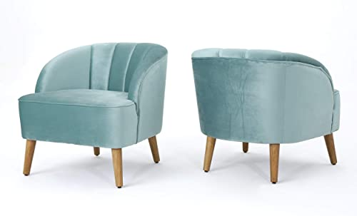 Christopher Knight Home Amaia Modern Velvet Club Chairs, 2-Pcs Set, Seafoam Blue Walnut