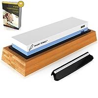 SharpPebble Knife Sharpening Stone 2 Side Grit 1000/6000 Whetstone Best Kitchen Knife Sharpener Waterstone NonSlip Bamboo Base & Angle Guide