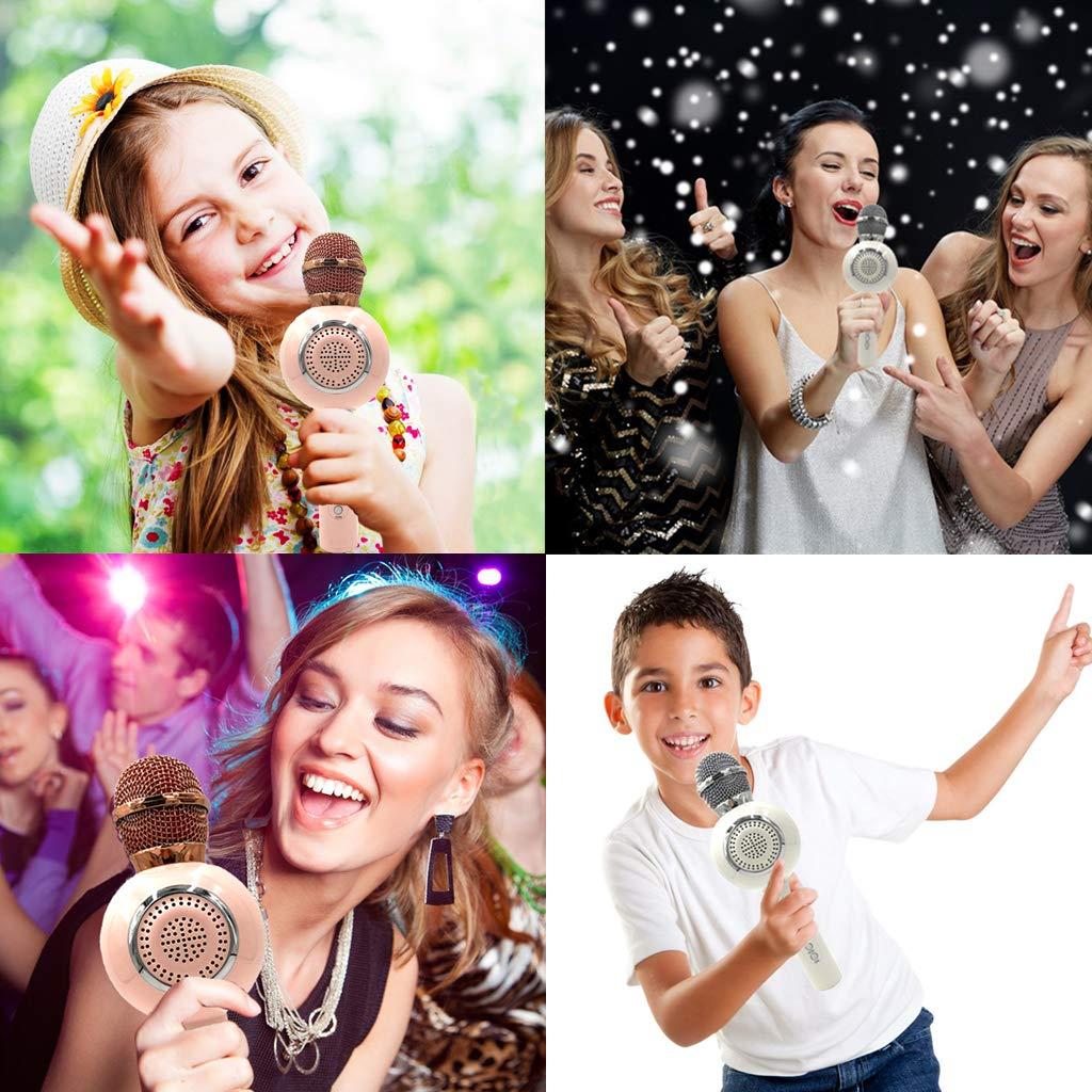 OceanEC Kids Bluetooth Karaoke Microphone, Wireless Rechargeable Portable Handheld Karaoke Music Microphone HiFi Loudspeaker MP3 Player for Kids Adult Home Party (Handheld White) by OceanEC (Image #7)