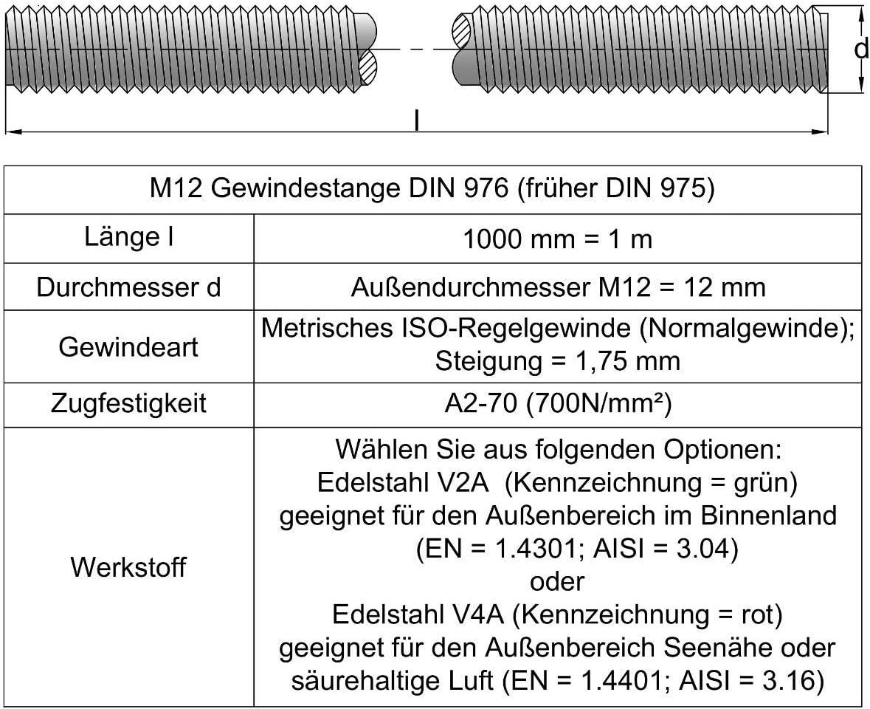 DIN 976-A2M12x70 5 St/ück Gewindebolzen Gewindestange