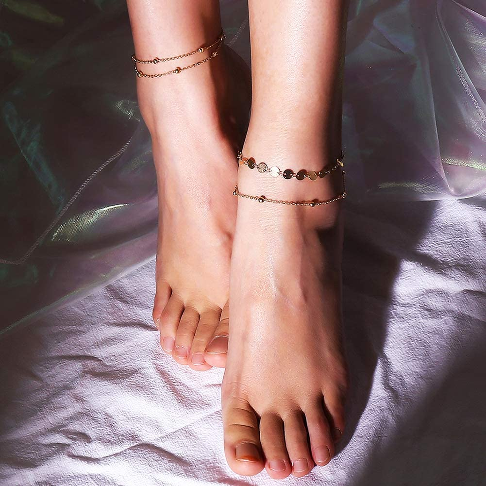 Bluelans Anklets 2pcs Women Multilayer Sequins Beads Anklets Ankle Bracelet Chain Foot Jewelry Valentines Day//Wedding//Party//Anniversary//Holiday//Mothers Day//Birthday Gifts