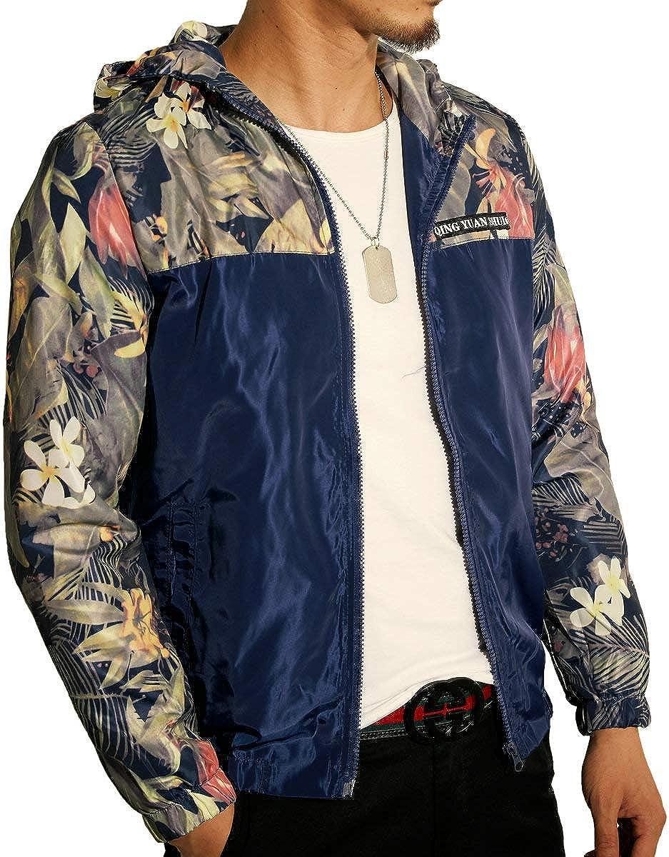 LOGEEYAR Mens Fashion Lightweight Jacket Hooded Zip-up Printed Windbreaker Jacket Casual Coat