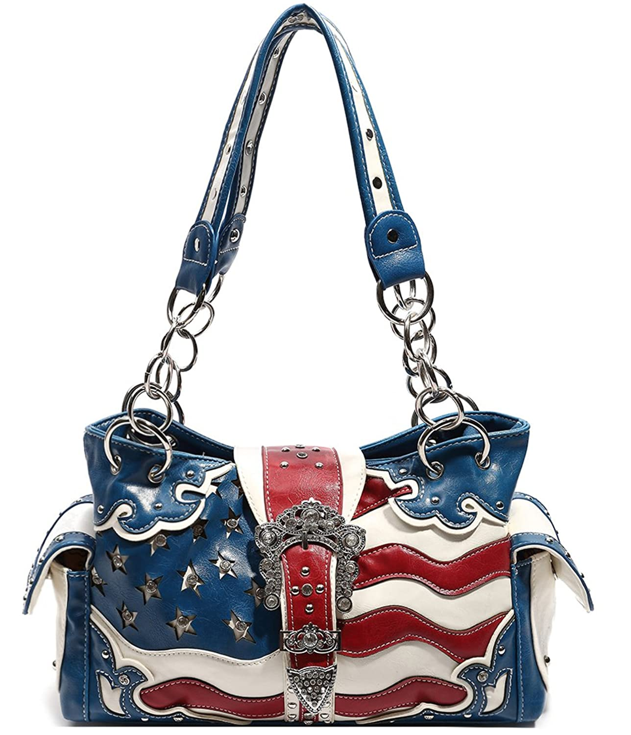 Cowgirl Trendy Western Concealed Carry USA American Flag Stars Stripes Purse Handbag Shoulder Bag Blue