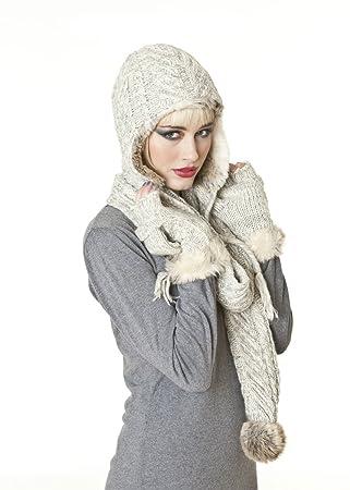 Socks Uwear Ensemble bonnet écharpe et moufles à rabat en tricot de haute  qualité pour femme 58efbedcbad