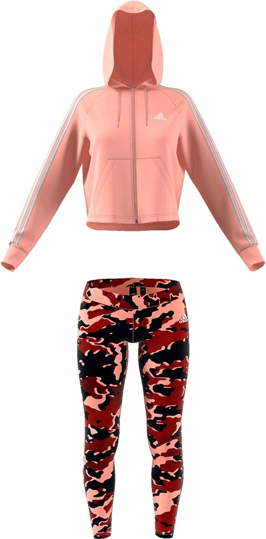 - Gr Glow Pink // Active Maroon adidas DX7924 Trainingsanzug mit Hoodie und Tights S