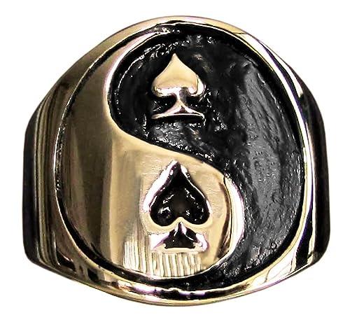 Yin Yang anillo de póquer Spades juego de símbolo en bronce (tamaño ...