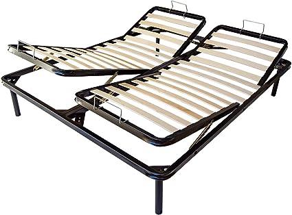 Somier de láminas para cama de matrimonio de 160 x 190 cm con sistema de elevación manual para respaldo y piernas