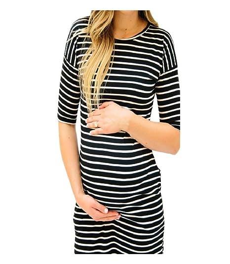 b2a4f671eb871 Kehen Women s Maternity Bodycon Dress Casual Striped Print Half Sleeve Midi  Dress with Pockets (Black