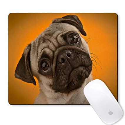 b1811b2155b5 Galdas Mouse Pad Cute Funny Pug Dog Yellow BackgroundDesign Mousepad Non  Slip Rubber Gaming Mouse Pad Rectangle Mouse Pads for Computers Laptop