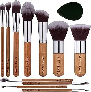 Set Brochas de maquillaje bambu orgánicas estilo Kabuki ecologicas para maquillaje profesional kit (makeup brush set) | Aplica Polvos, Base, Blush en cara y ojos