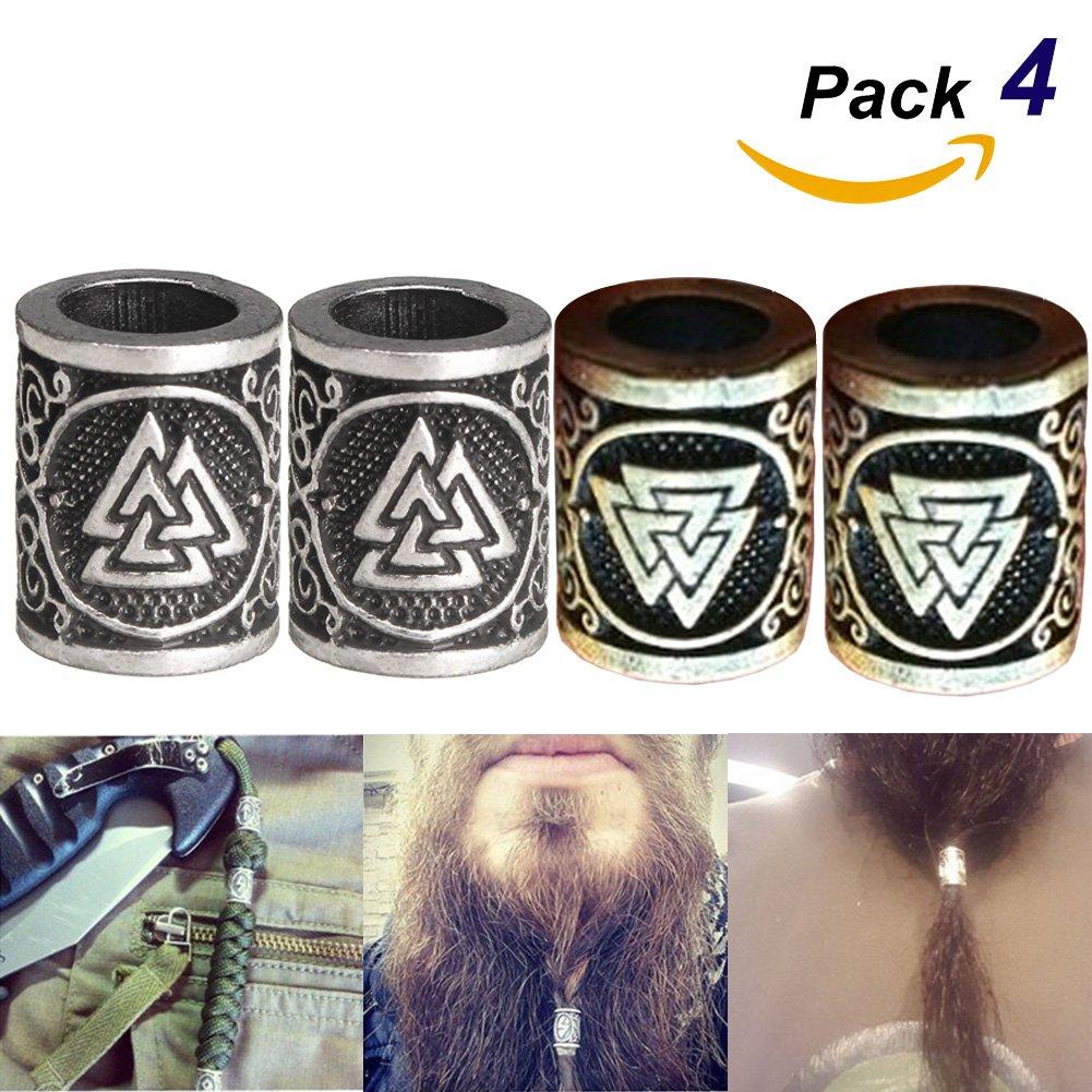 4 Piezas De Metal Vikingo Noruego Runes Encantos Del Grano Plata Dreadlock Barba Del Pelo Anillo Para Diy Hallazgos Pulseras Colgante, Collar De La Joyería OOFAA
