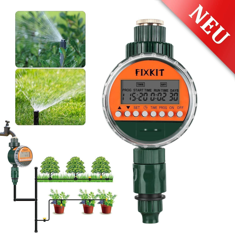 FIXKIT Reloj de Riego, Temporizador de Agua Digital con Pantalla LCD IP68 a Prueba de Agua, Programas de Riego de hasta 30 días, Ideal para Regar Céspeds y Jardines